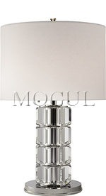 Brookings Large Table Lamp in Crystal and Polished Nickel