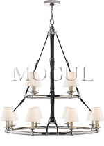 Westbury Double Tier Chandelier in Polished Nickel and Chocolate Leather with Linen Shades
